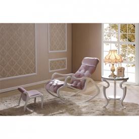 Деревянное кресло-качалка Gordica M308 (white-pink)