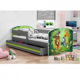 Кровать с ящиком для белья Luki Graphite