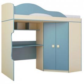 Кровать чердак с шкафом Радуга